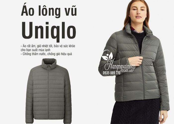 Áo lông vũ Uniqlo Nhật Bản chính hãng, không mũ, siêu nhẹ 5