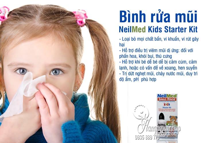 Bình rửa mũi NeilMed Kids Starter Kit 30 gói cho trẻ em của Mỹ 5