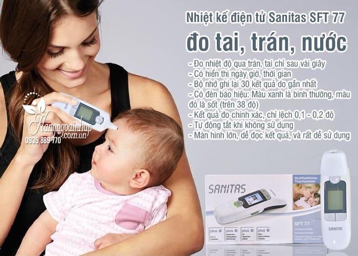 Nhiệt kế điện tử Sanitas SFT 77 của Đức 6 in 1 đo tai, trán, nước 2