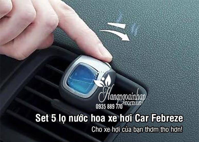 Set 5 lọ nước hoa xe hơi Car Febreze 5 x 2ml nhập từ Mỹ 1
