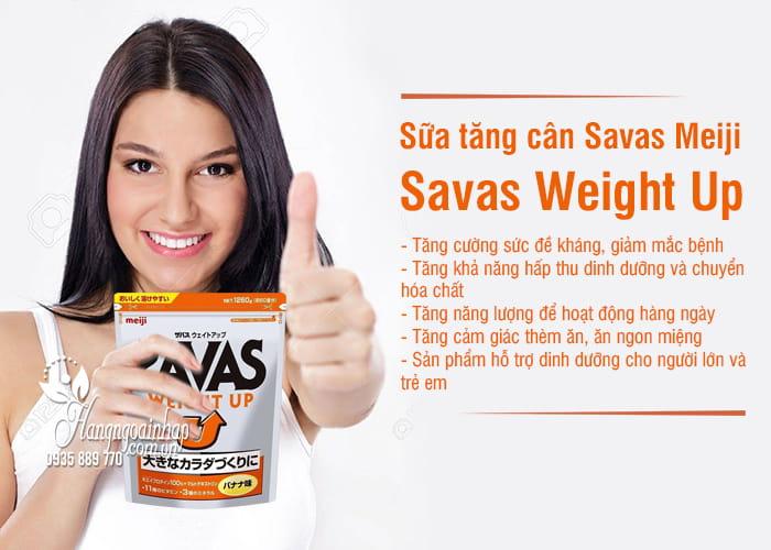 Sữa tăng cân Savas Meiji - Savas Weight Up 1260g Nhật Bản 2
