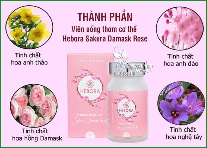 Viên uống thơm cơ thể Hebora Sakura Damask Rose Nhật 60 viên 8