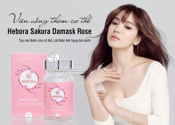 Viên uống thơm cơ thể Hebora Sakura Damask Rose Nhật 60 viên 3