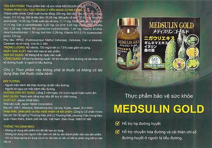 Viên uống tiểu đường Medsulin Gold JpanWell Nhật Bản 60 viên 9