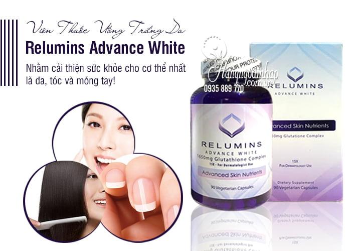 Viên Thuốc Uống Trắng Da Relumins Advance White 1650mg Của Mỹ 1