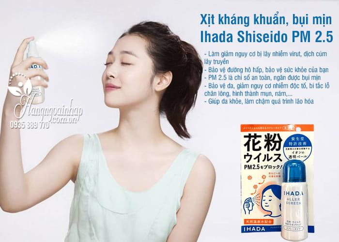 Xịt kháng khuẩn, bụi mịn Ihada Shiseido PM 2.5 Nhật Bản 2