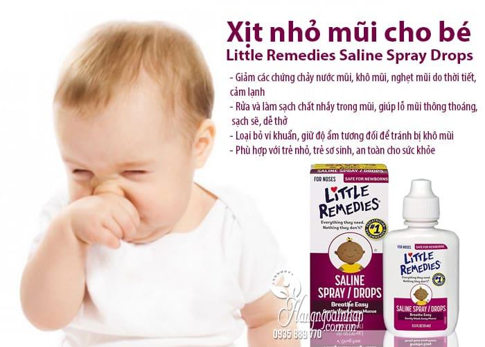Xịt nhỏ mũi cho bé Little Remedies Saline Spray Drops 30ml 6
