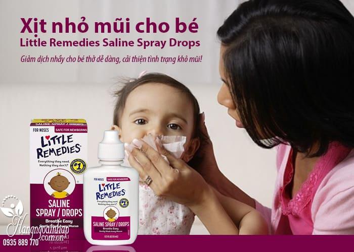 Xịt nhỏ mũi cho bé Little Remedies Saline Spray Drops 30ml 8