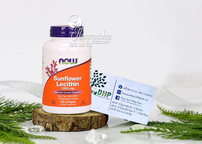 Viên uống chống tắc tia sữa Now Sunflower Lecithin 1200mg 1