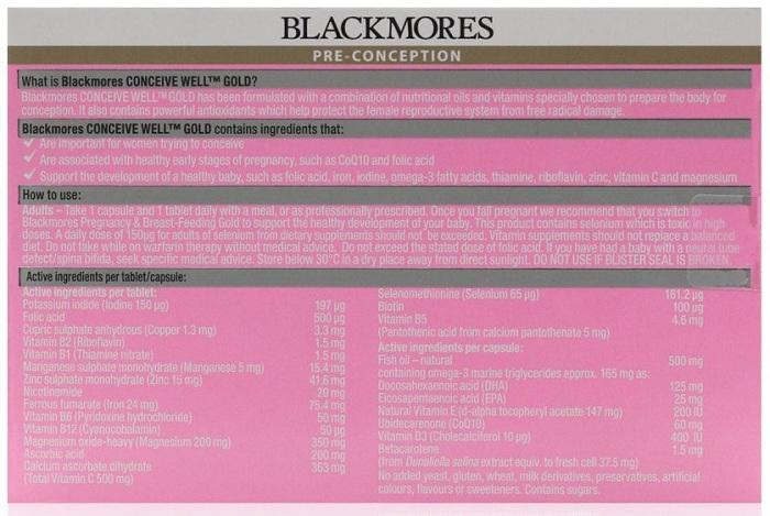 Vitamin Bà Bầu Blackmores Conceive Well Gold 56 Viên Của Úc 2