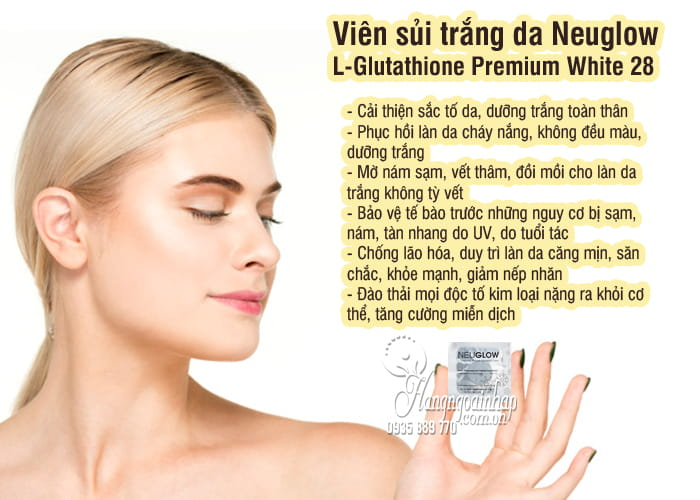 Viên sủi trắng da Neuglow L-Glutathione Premium White 28 3