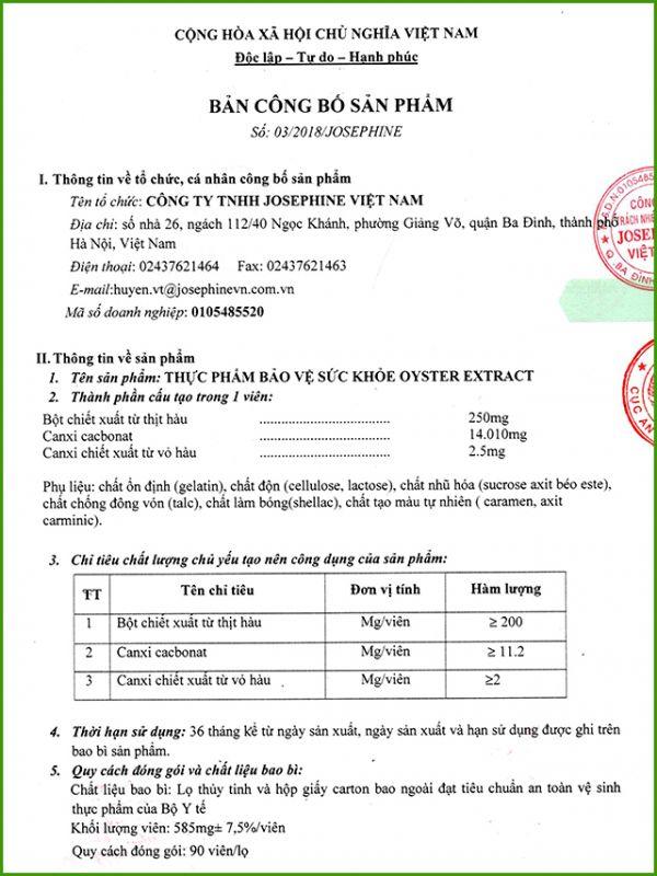Viên tinh chất hàu Oyster Extract Josephine Nhật Bản 90 viên 12