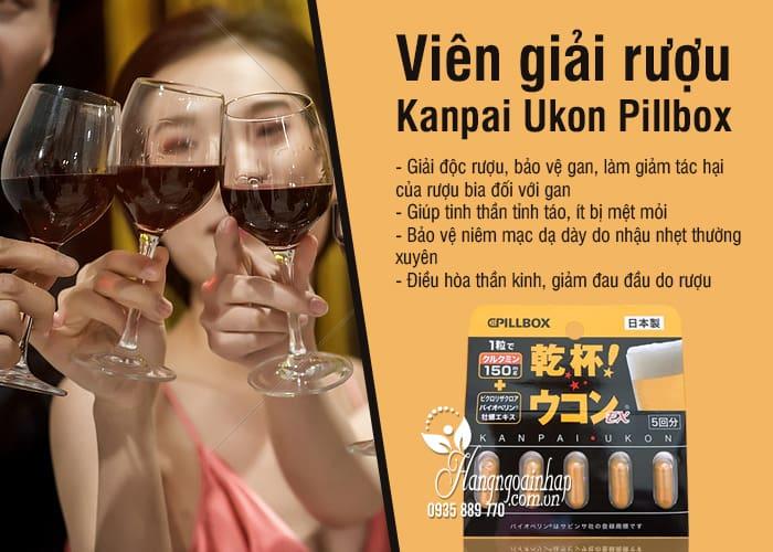 Viên giải rượu Kanpai Ukon Pillbox vỉ 5 viên của Nhật Bản