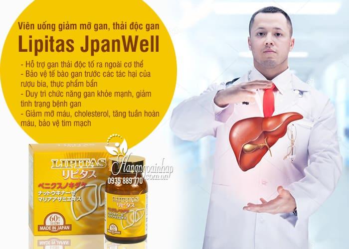 Viên uống giảm mỡ gan, thải độc gan Lipitas JpanWell Nhật 3