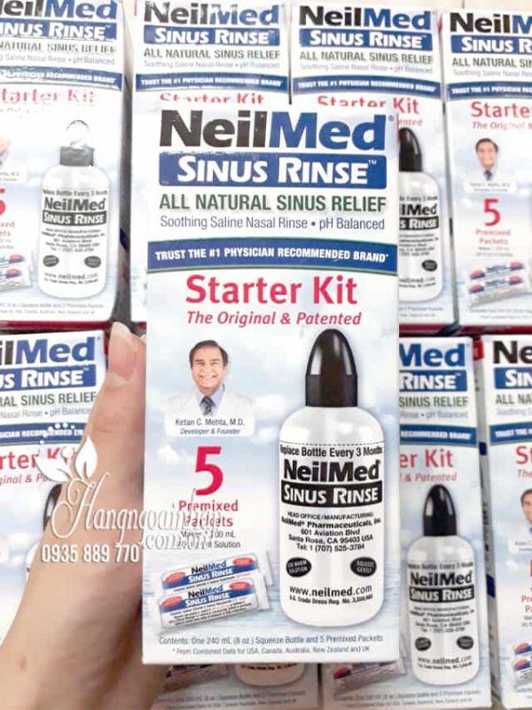 Bộ rửa mũi NeilMed 240ml cùng 5 gói muối cho người lớn q