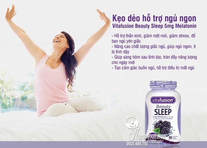 Kẹo dẻo hỗ trợ ngủ ngon Vitafusion Beauty Sleep 5mg Melatonin 5