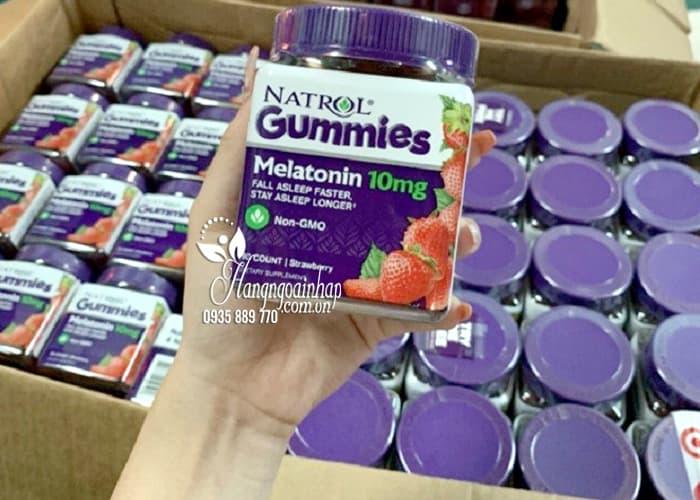 Kẹo dẻo ngủ ngon Natrol Gummies Melatonin 10mg vị dâu của Mỹ 7