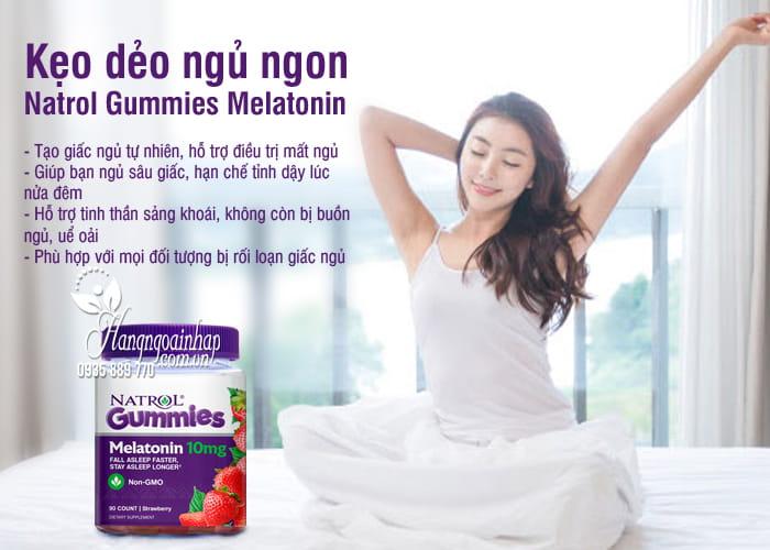 Kẹo dẻo ngủ ngon Natrol Gummies Melatonin 10mg vị dâu của Mỹ 6
