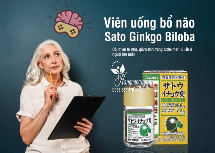 Viên uống bổ não Sato Ginkgo Biloba 60 viên nội địa Nhật 2