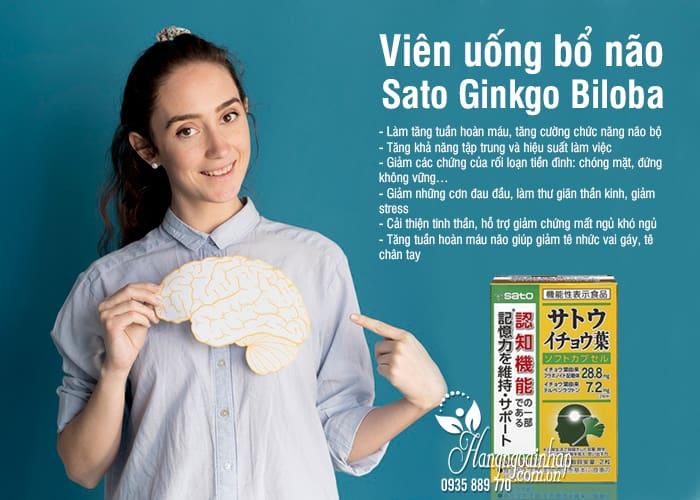 Viên uống bổ não Sato Ginkgo Biloba 60 viên nội địa Nhật 7