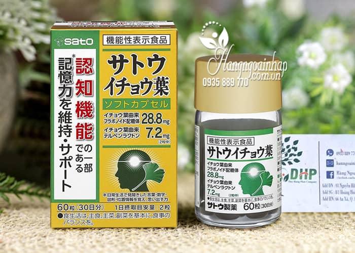 Viên uống bổ não Sato Ginkgo Biloba 60 viên nội địa Nhật 0