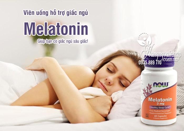 Viên uống hỗ trợ giấc ngủ Melatonin 3mg Now 60 viên của Mỹ 9