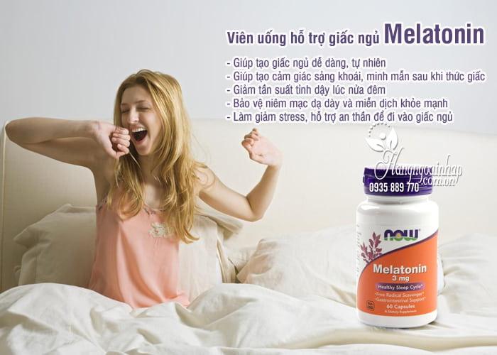 Viên uống hỗ trợ giấc ngủ Melatonin 3mg Now 60 viên của Mỹ 2