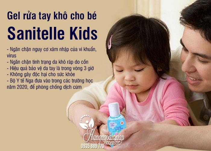 Gel rửa tay khô cho bé Sanitelle Kids 60ml của Nga 8