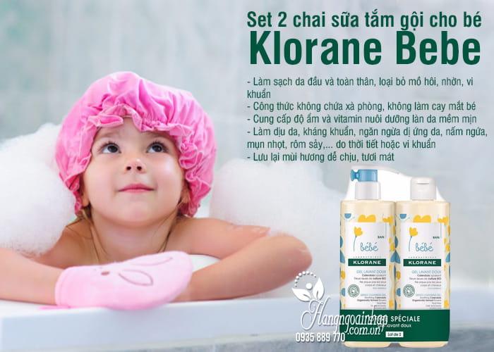 Set 2 chai sữa tắm gội cho bé Klorane Bebe 500ml của Pháp 5