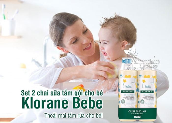 Set 2 chai sữa tắm gội cho bé Klorane Bebe 500ml của Pháp 1