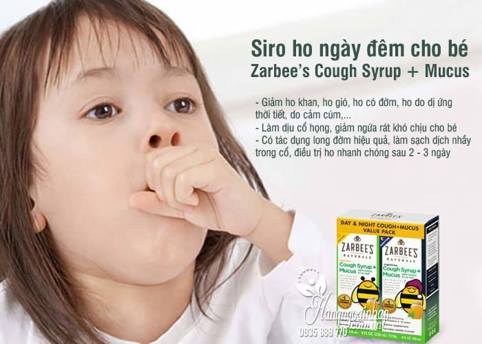 Siro ho ngày đêm cho bé Zarbee's Cough Syrup + Mucus Mỹ 4