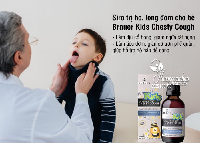 Siro trị ho, long đờm Brauer Kids Chesty Cough 100ml cho bé 3