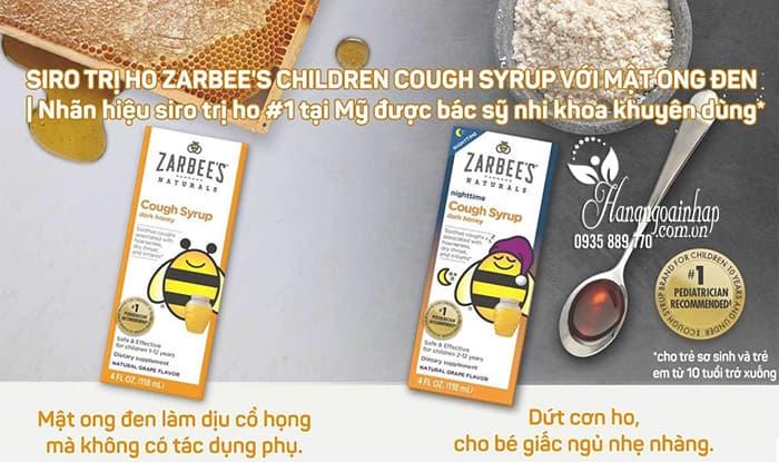 Siro trị ho mật ong Zarbee's Cough Syrup ngày và đêm cho bé của Mỹ 1