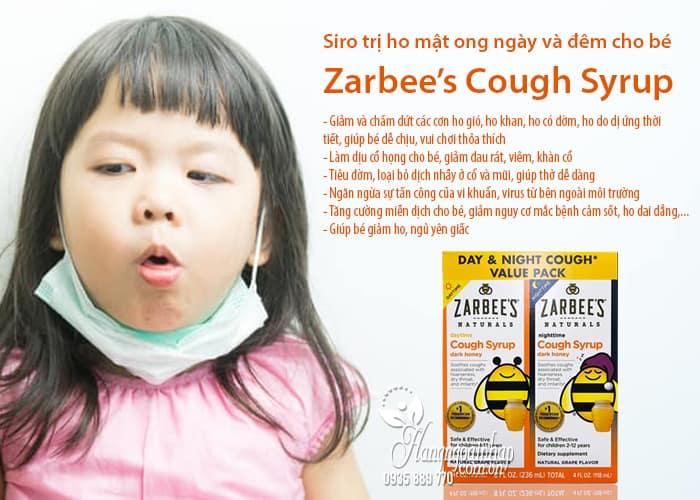 Siro trị ho mật ong Zarbee's Cough Syrup ngày và đêm cho bé của Mỹ 3