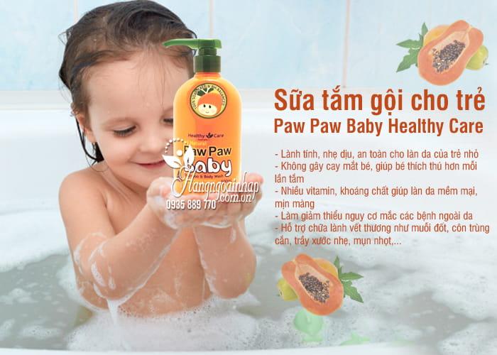 Sữa tắm gội Paw Paw Baby Healthy Care 500ml của Úc cho trẻ 4