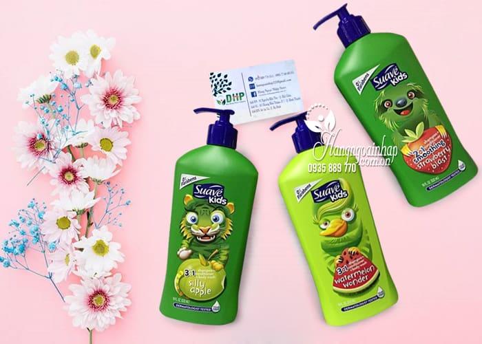 Sữa tắm gội xả Suave Kids 3 in 1 mẫu mới chai có vòi 532ml 3