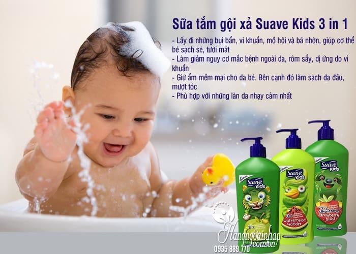 Sữa tắm gội xả Suave Kids 3 in 1 mẫu mới chai có vòi 532ml 5