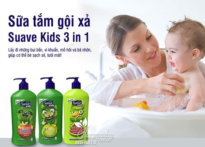 Sữa tắm gội xả Suave Kids 3 in 1 mẫu mới chai có vòi 532ml 8