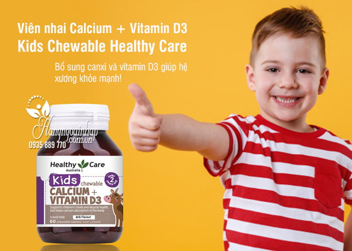 Viên nhai Calcium + Vitamin D3 Kids Chewable Healthy Care 1