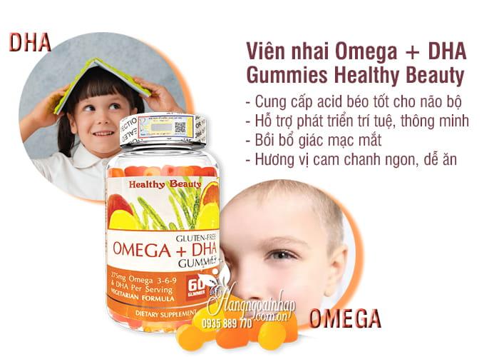Viên nhai Omega + DHA Gummies Healthy Beauty 60 viên Mỹ 6