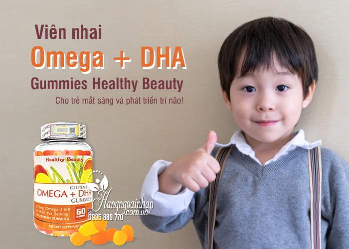 Viên nhai Omega + DHA Gummies Healthy Beauty 60 viên Mỹ 1