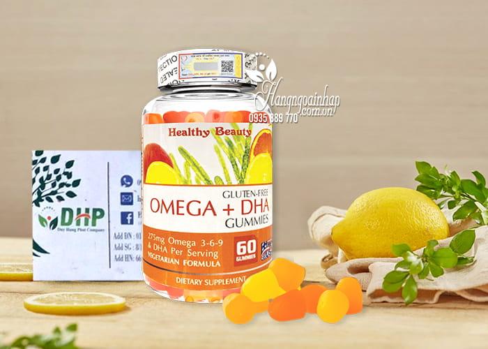 Viên nhai Omega + DHA Gummies Healthy Beauty 60 viên Mỹ 7