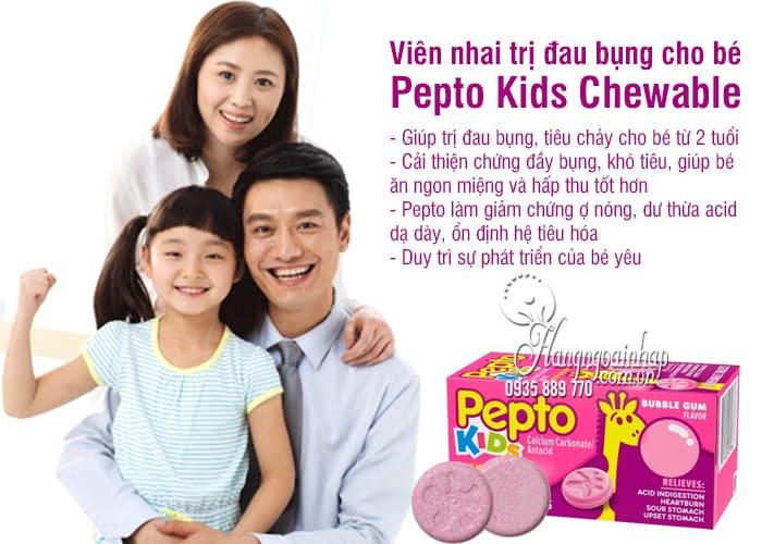 Viên nhai trị đau bụng cho bé Pepto Kids Chewable 24 viên 4