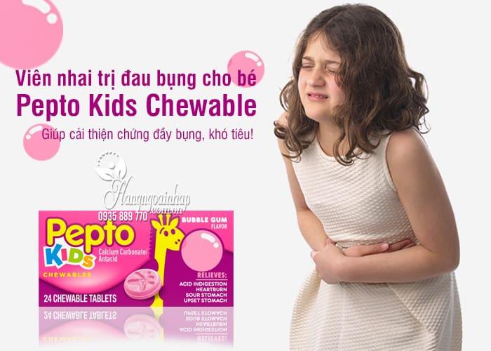 Viên nhai trị đau bụng cho bé Pepto Kids Chewable 24 viên 1