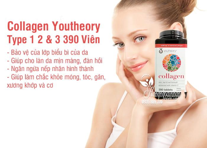 Collagen Youtheory Type 1 2 & 3 390 Viên Của Mỹ-Collagen Không Biến Tính 4