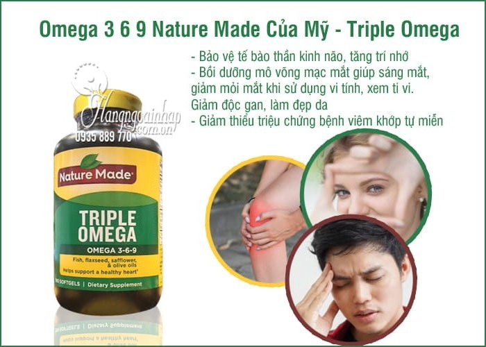Omega 3 6 9 Nature Made Của Mỹ Triple Omega Hộp 180 Vien