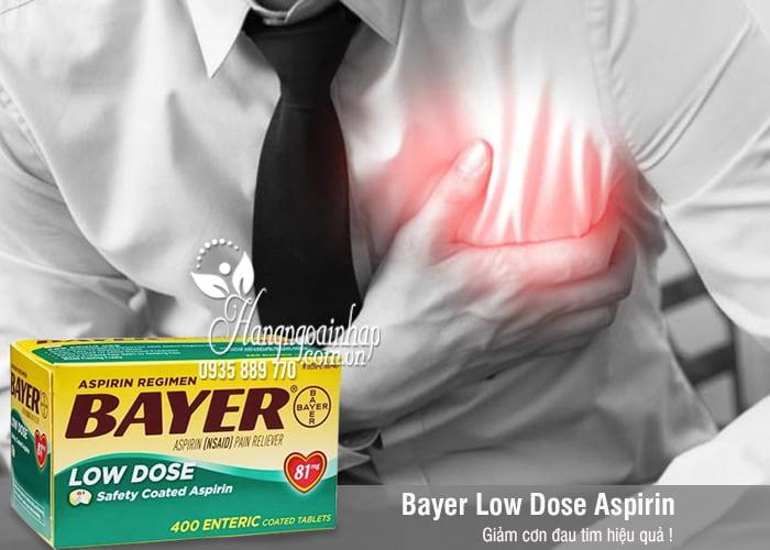 Thuốc giảm đau tim Bayer Low Dose Aspirin 81mg của Mỹ 400v 1