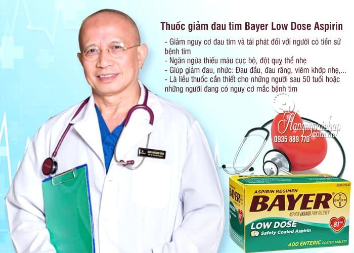 Thuốc giảm đau tim Bayer Low Dose Aspirin 81mg của Mỹ 400v 4