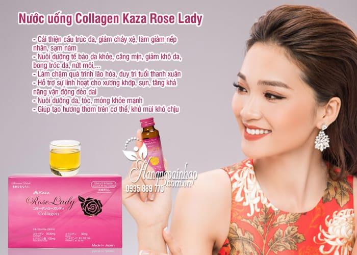 Nước uống Collagen Kaza Rose Lady 5000mg Nhật hộp 10 lọ 7