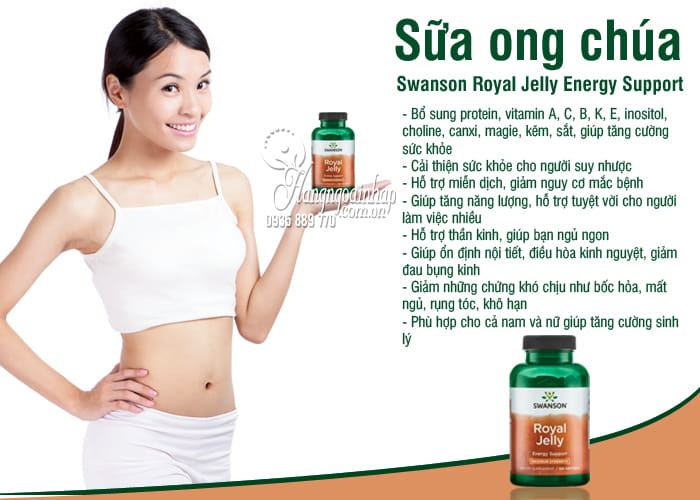 Sữa ong chúa Swanson Royal Jelly Energy Support của Mỹ 8